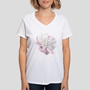 Elegant White Peony Women's V-Neck T-Shirt