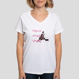 3 Barrels, 2 Hearts, 1 Dream Women's V-Neck T-Shir