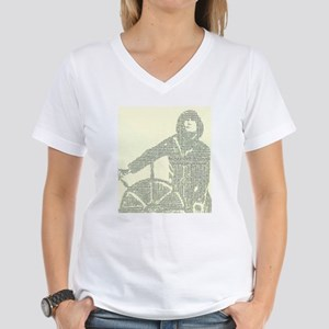 Man At The Wheel In Text Women's V-Neck T-Shirt