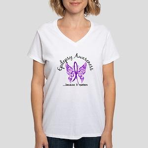 Epilepsy Butterfly 6.1 Women's V-Neck T-Shirt