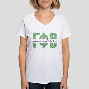 Gamma Phi Beta Letters Emoj Women's V-Neck T-Shirt