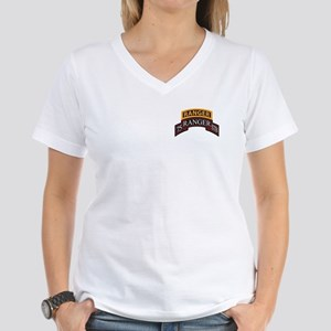 75 Ranger STB scroll with Ran Women's V-Neck T-Shi