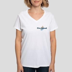 Fire Island - Seashells Design Women's V-Neck T-Sh