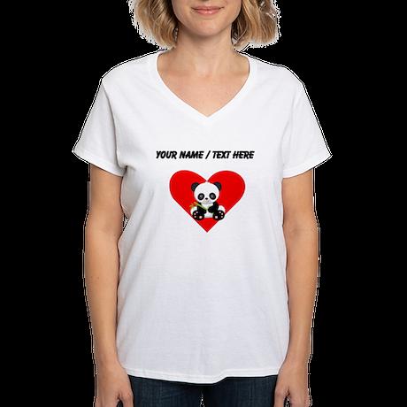 Custom Panda With Bamboo Heart T-Shirt