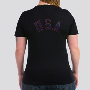 Vintage Team USA [back] Women's V-Neck Dark T-Shir