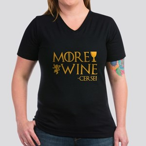 More Wine Women's V-Neck Dark T-Shirt