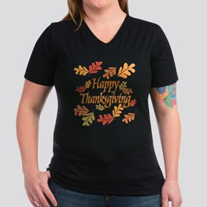 a85d8221 Happy Thanksgiving Women's V-Neck Dark T-Shirt