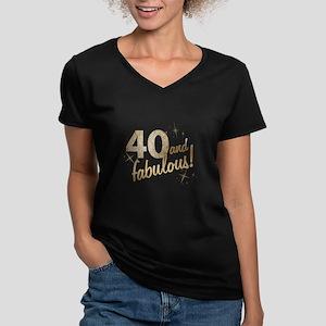 a21d2b6b 40 and Fabulous Women's V-Neck Dark T-Shirt
