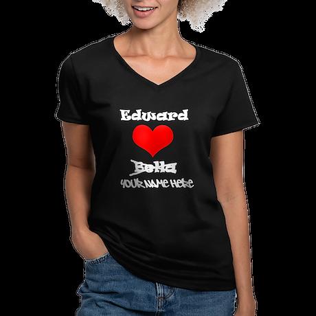 Edward Loves Me Women's V-Neck Dark T-Shirt