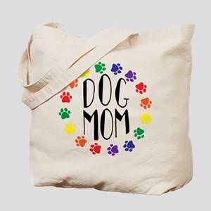 Rainbow Dog Mom Tote Bag