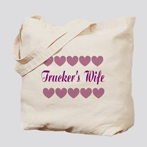 Truckers Wife With Hearts Tote Bag