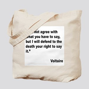 Voltaire Free Speech Quote Tote Bag