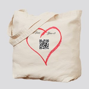 I Love You QR Code Tote Bag