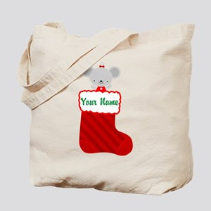 Personalized Christmas Mouse Tote Bag