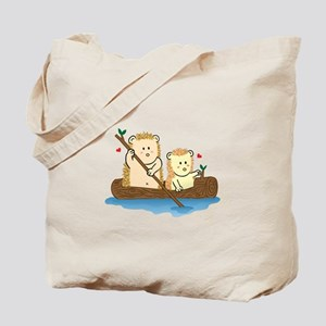 Cute Hedgehog couple sailing on wooden boat Tote B