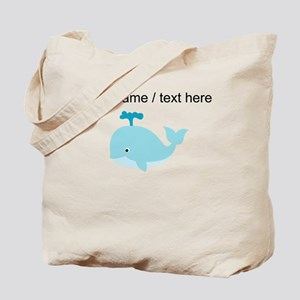 Custom Blue Cartoon Whale Tote Bag