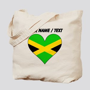 Custom Jamaica Flag Heart Tote Bag