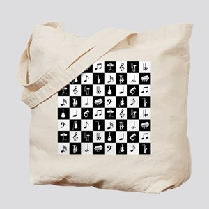 Stylish modern music notes and instrument Tote Bag