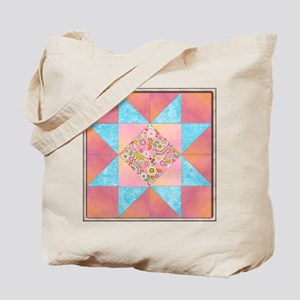Sunset and Water Quilt Square Tote Bag