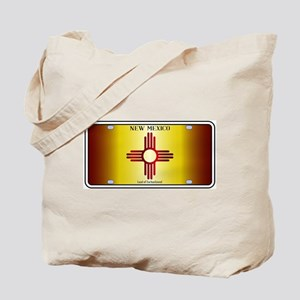 New Mexico Flag License Plate Tote Bag