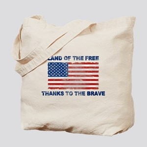 Land Of The Free Thanks To The Brave Tote Bag