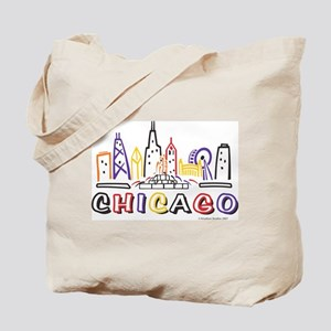 Cute Chicago Skyline Tote Bag