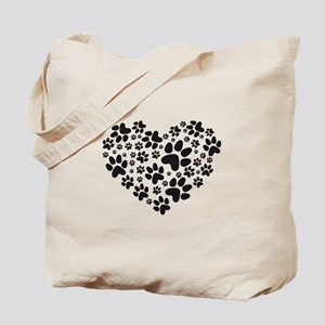 black heart with paws, animal foodprint pattern To