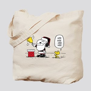 Santa Snoopy and Woodstock Tote Bag