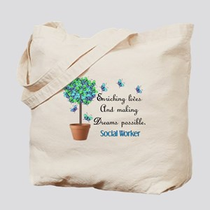 Social worker Butterfly Quote Tote Bag