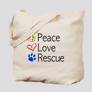 Peace Love Rescue Tote Bag