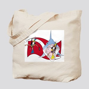 Shark and Divers Tote Bag