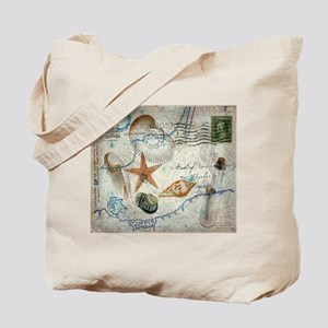 seashells nautical map vintage anchor Tote Bag