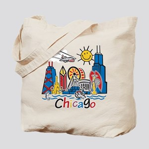 Chicago Cute Kids Skyline Tote Bag