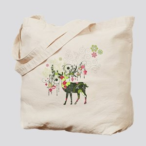 Abstract Decorated Christmas Elk Tote Bag