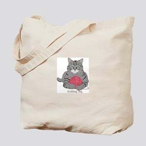 Knitting Cat Tote Bag