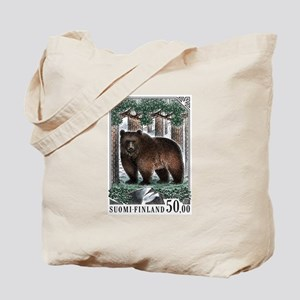 1989 Finland Brown Bear Postage Stamp Tote Bag