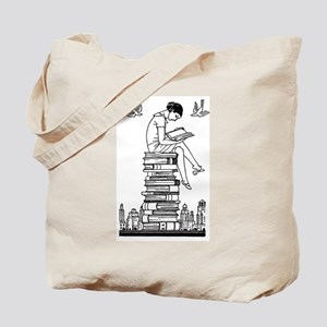 Reading Girl atop books Tote Bag