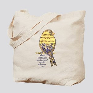 Music in the Soul quote Music Note Bird Tote Bag