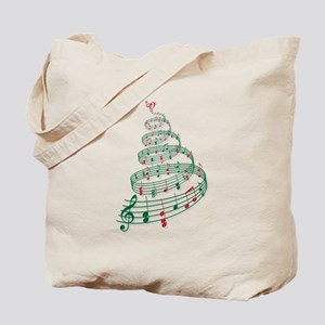 Christmas tree with music notes and heart Tote Bag