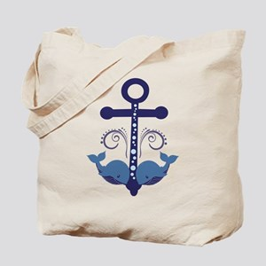 Blue Anchor and Whales Tote Bag