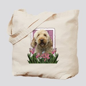 Mothers Day GoldenDoodle Pink Tulips Tote Bag