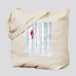 Red Cardinal Bird Snow Birch Trees Tote Bag