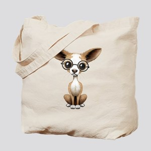 Cute Curious Chihuahua Wearing Eye Glasses Tote Ba