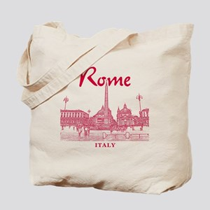 Rome_10x10_v1_Red_Piazza del Popolo Tote Bag