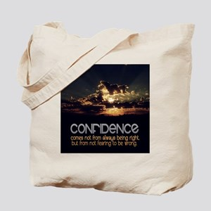 Confidence Quote on Tile Coaster, Keepsak Tote Bag