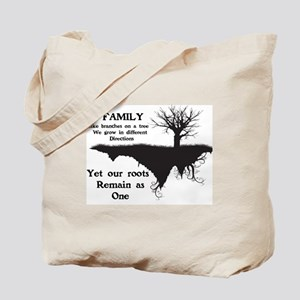 FAMILY, LIKE BRANCHES ON A TREE, WE GROW  Tote Bag
