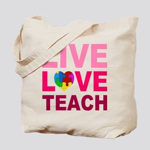 Live Love Teach Autism Tote Bag