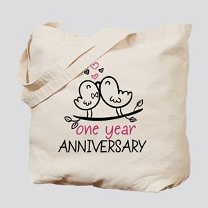 1st Anniversary Cute Couple Doodle Birds Tote Bag