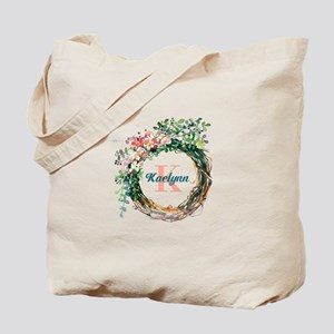 Spring Floral Wreath Monogram Tote Bag