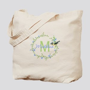 Bird Floral Wreath Monogram Tote Bag